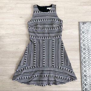LOFT TALL Fit and Flare Geometric Dress Ann Taylor
